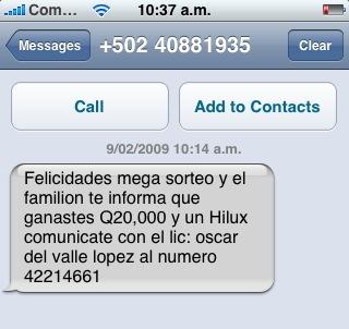 Estafa por SMS / Guatemala