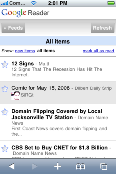Google Reader para el iPhone