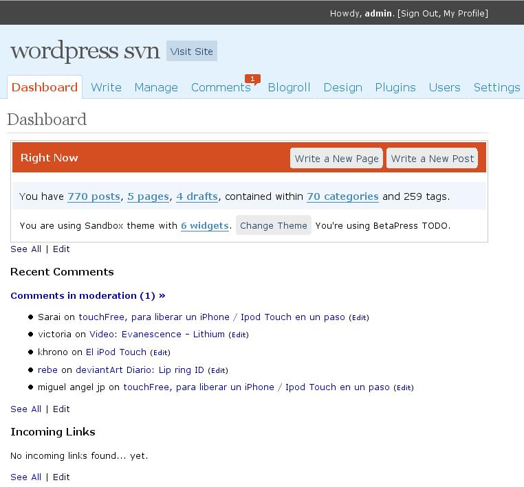 Cambios en el Administrativo de WordPress 2.4 - Javier Aroche