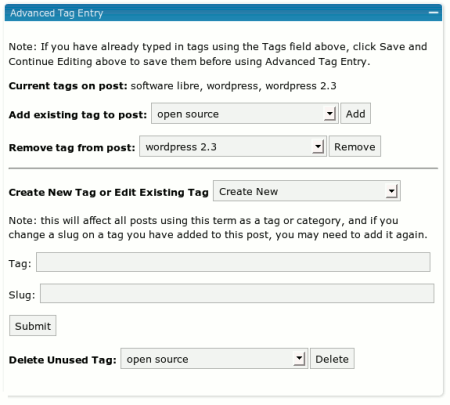 Etiquetas en WordPress - Plugin: Advanced Tag Entry